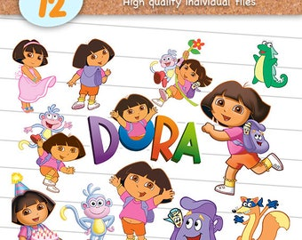 Dora the Explorer Clipart Files, Dora the Explorer PNG, PNG with Transparent Background, Scrapbook Images, Digital Download - CP-009
