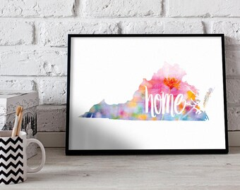Virginia Watercolor Home State Poster Print Wall Art Decor
