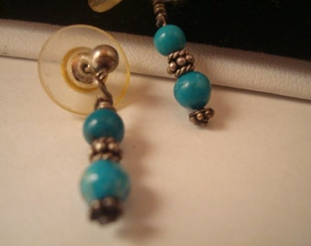 Vintage turquoise beads with silver tone accent pierced earrings