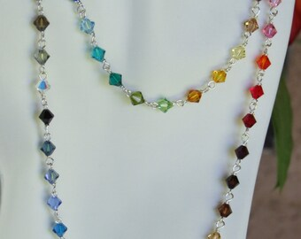 Swarovsky crystal 6mm  beads necklace 0211NK
