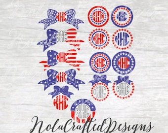 Fourth of July Monogram SVG - 4th of July Monogram SVG - Fourth of July cut file for Silhouette & Cricut