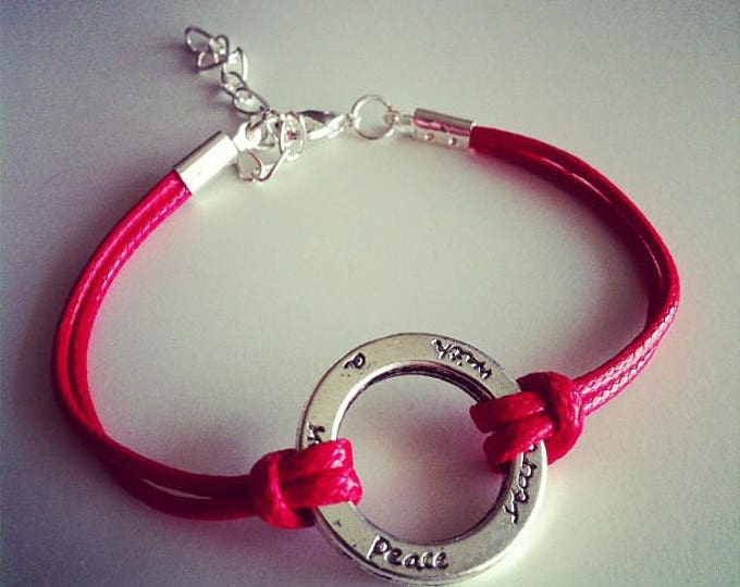 Red cord with silver plated ring bracelet