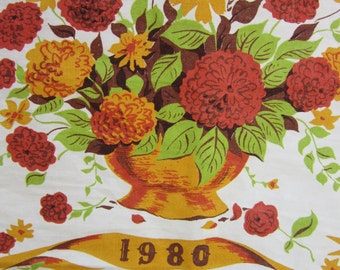 Vintage Wall Calendar Tea Towel Golden Harvest Colors Flowers Floral Basket 1980 Birthday