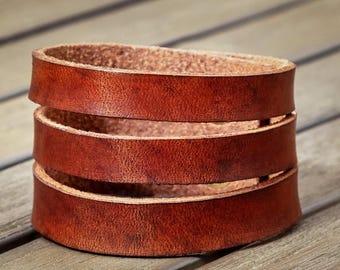 Leather Cuff Bracelet, Statement bracelet, Wide leather cuff, Women's Leather Bracelet, Leather Cuff, Gift for her, Leather Wrap Bracelet