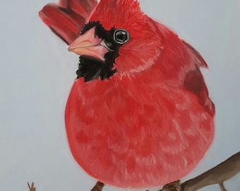 Cardinal Art Print, Bird Decor, Bird Gift, Winter Art - Fine Art Giclee Print of an Original Pawstel