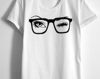 sunglasses glass eyes eyelash shirt eyelashes Women's Clothing Tops tees T-shirts hand painted tshirt  for her gift for her white tee