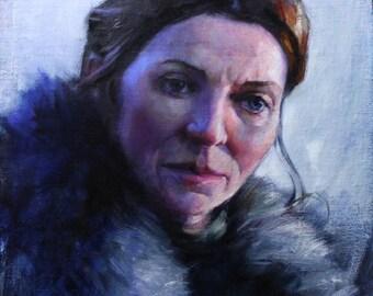 Game of Thrones Fan Art Lady Stark Original Oil Painting by Kristina Laurendi Havens