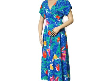 Dress Vintage 1980's Blue Flower Floral Day Dress Faux Wrap Midi Summer Full Skirt Size 8