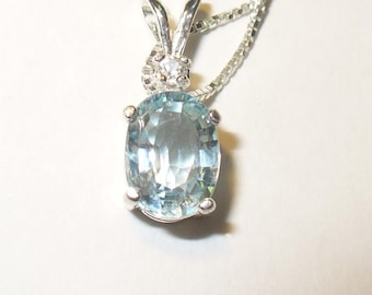 Genuine Aquamarine & Zircon Gemstone Pendant Necklace ~ All Natural Gemstones in Solid Sterling Silver