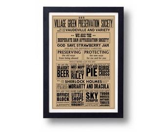 Kinks Village Green Preservation Society Lyric Typography Wall Art Poster