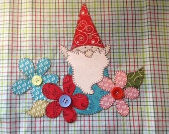 Garden Gnome Applique PDF Pattern for Tea Towel