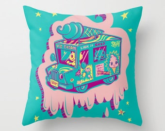I Scream Illustration Truck Pillow in blue and pink 16x16