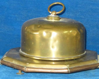 Antique brass and copper covered Cheese server