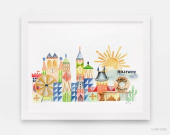 Los Angeles Landmarks Watercolor Art Print: LA City Print in Mary Blair It's a Small World style / Limited Edition LA City Giclee Print
