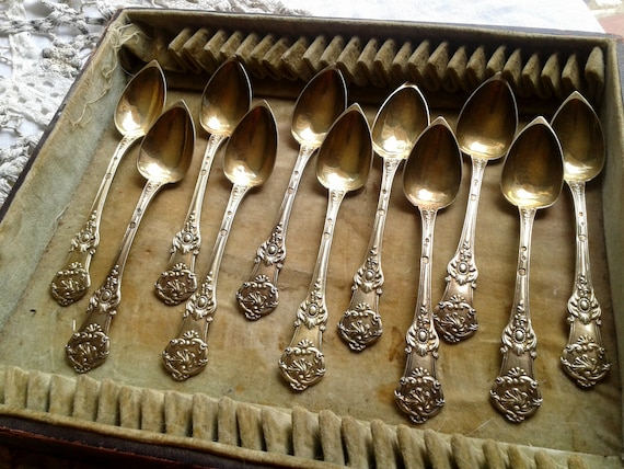 Vermeil Spoons 1819-1838  Antique French Jam Spoons Made by a French Master Goldsmith Paris France Marks Rare Collectible #sophieladydeparis