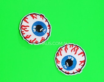 Eyeball Patch, Creepy Eyeball Patch, Rockabilly Patch, Iron on Patch, Dog Denim, Embroidered Patch, Horror Patch, Halloween Patch