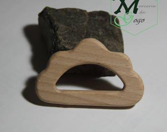 Natural wooden teething ring. 1 big cloud shape.