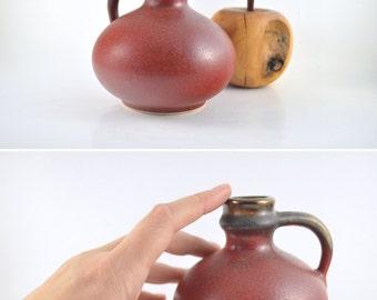 Red Pitcher, Vintage Ceramics, German Pottery, Small Pitcher, Mid Century Modern Vase, Copper Glaze Pitcher, Red Pitcher with Copper Rim