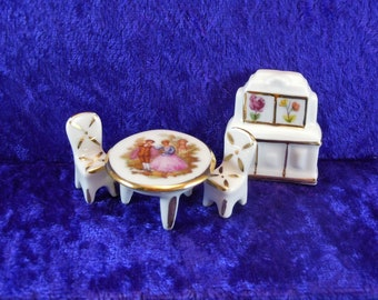 Limoges 4-pc. Miniature Hand-painted Porcelain Dollhouse Furniture Set.  Made in France – Signed.  Item #D523.