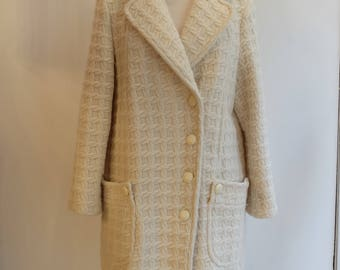 Long Vintage 1960 Wool cream-colored coat