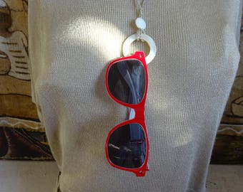 Sunglasses with White Pearl Necklace