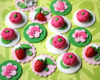 Strawberry fondant topper strawberry cake topper strawberry picnic cupcake topper