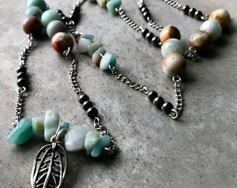 Amazonite, Jade, and Hematite Necklace with Leaf