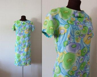 1960s Wiggle Dress / Watercolor Dress / Shift Dress (s)