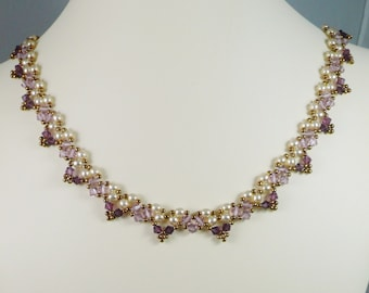 Woven Pearl Necklace in Amethyst