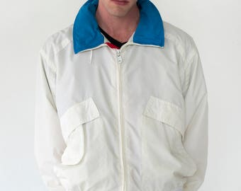Members Only Mens Vintage 1980s Lightweight White Zip Up Retractable Hooded Jacket - Large
