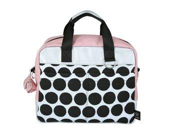 Dots Diaper Bag ,New collection, Modern diaper bag,Designer messenger bag, Nappy bag, tote bag, StarJelly,Vegan , unisex bag