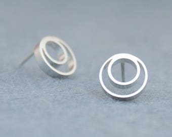 Circle Stud Earrings Silver, Round Silver Stud Earrings, Small Silver Stud Earrings, Geometric Silver Studs, Simple Everyday Earrings