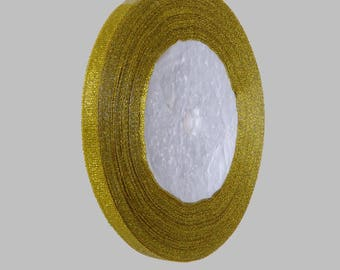 Shiny Golden 22 metres of organza ribbon roll 7mm - free shipping