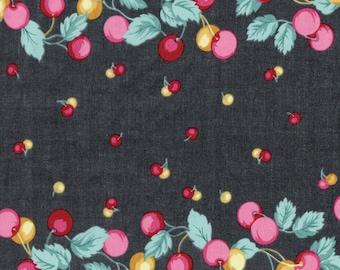 "Fabric ""Cherry Pie"" Retro Cherry Fruit Novelty Print - By the Yard"