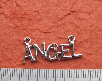 Silver Metal ANGEL Word 32mm x 16mm Two Loops Pendant, 1059-51