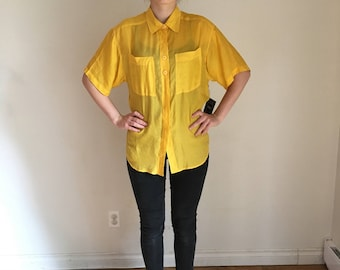 90s Yellow SILK Blouse, OSFM, Short Sleeve Sleeve Button Up, Oversized Baggy Blouse Sunhine Yellow 90s Vintage Blouse, Shirt Medium Large XL
