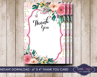 THANK YOU Card, Floral Thank you Card, Instant download, Pink Floral Thank you Card, Baby Shower Thank you Card, Instant Download Thank you
