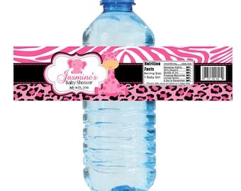 Pink Safari Water Bottle Label, Pink Safari Printed Bottle Labels, Party Favors  - Digital File