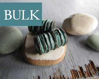 BULK Metal tube beads, barrel ridged rustic striped design, large hole, green patina finish on antiqued copper, 10 x 16mm (10 beads) 6as4641