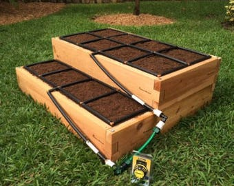 4x3 Tiered Raised Garden Kit with Watering System | Cedar Elevated Garden Kit