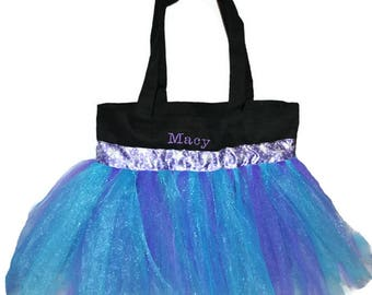 Tutu Bag, Princess Tutu Bag, Dance Bag, Snowflake Ribbon. Personalized Girl, Ballet Bag, Dance Class Bag, Kids Bag