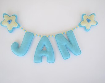 Felt name banner, Personalized Baby nursery name banner, personalized, nursery decor, kids room decor, name mobil, Photoshoot decoration