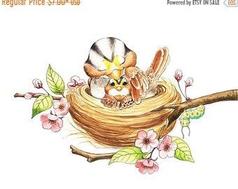 Sale Bird Nursery, Baby Bird, Mommy and Baby, Nest Art, Bird Nest Art, Bird Watercolor, White Throated, Sparrow, Cherry Blossoms, Caterpilla