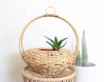 Vintage Wall Basket Airplant Holder Woven Basket Planter Boho Home Decor