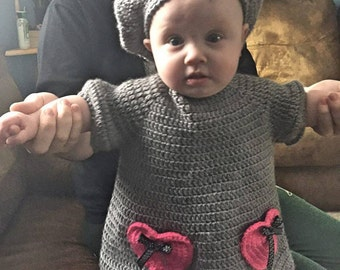Crochet Baby Dress and Berret