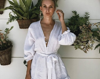 The Elise Playsuit, Linen Playsuit  - Frill Collar, Button Down, White Linen Jumpsuit Romper