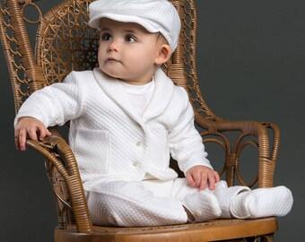 Boys Christening Outfit, Elijah Baptism Suit, White Christening & Blessing Outfit for Boys