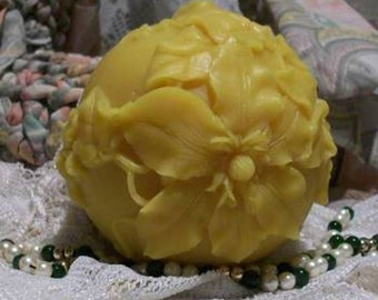 Beeswax Rose Flower Ball Candle Poinsettia Christmas
