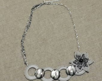 Necklace Circles and moons crochet