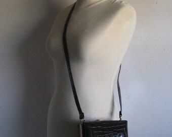 Vintage 1980s Handbag Dark Brown Faux Croc Square Cube Shoulder Bag